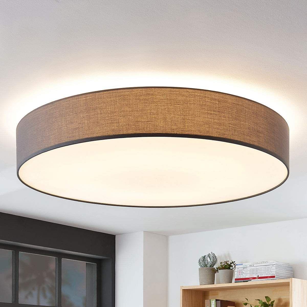 Stoff-Deckenlampe Gordana in Grau in 9  Deckenlampe, Lampe