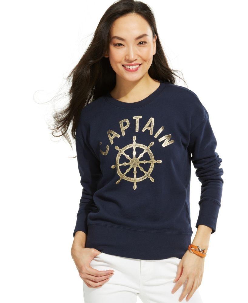 TOMMY HILFIGER Women Sweater CAPTAIN SWEATSHIRT Blue Top #TommyHilfiger #Sweatshirt