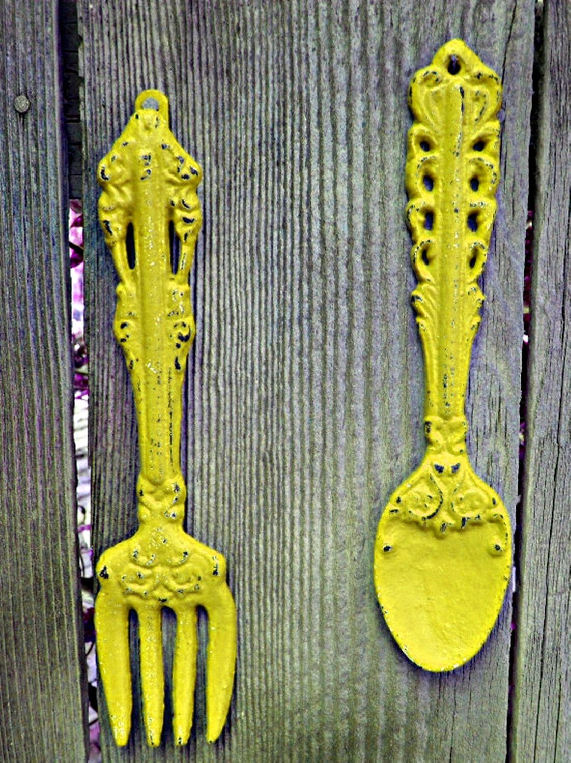 Shabby Chic Kitchen Wall Decor, Yellow Fork and Spoon , | ideas for ...