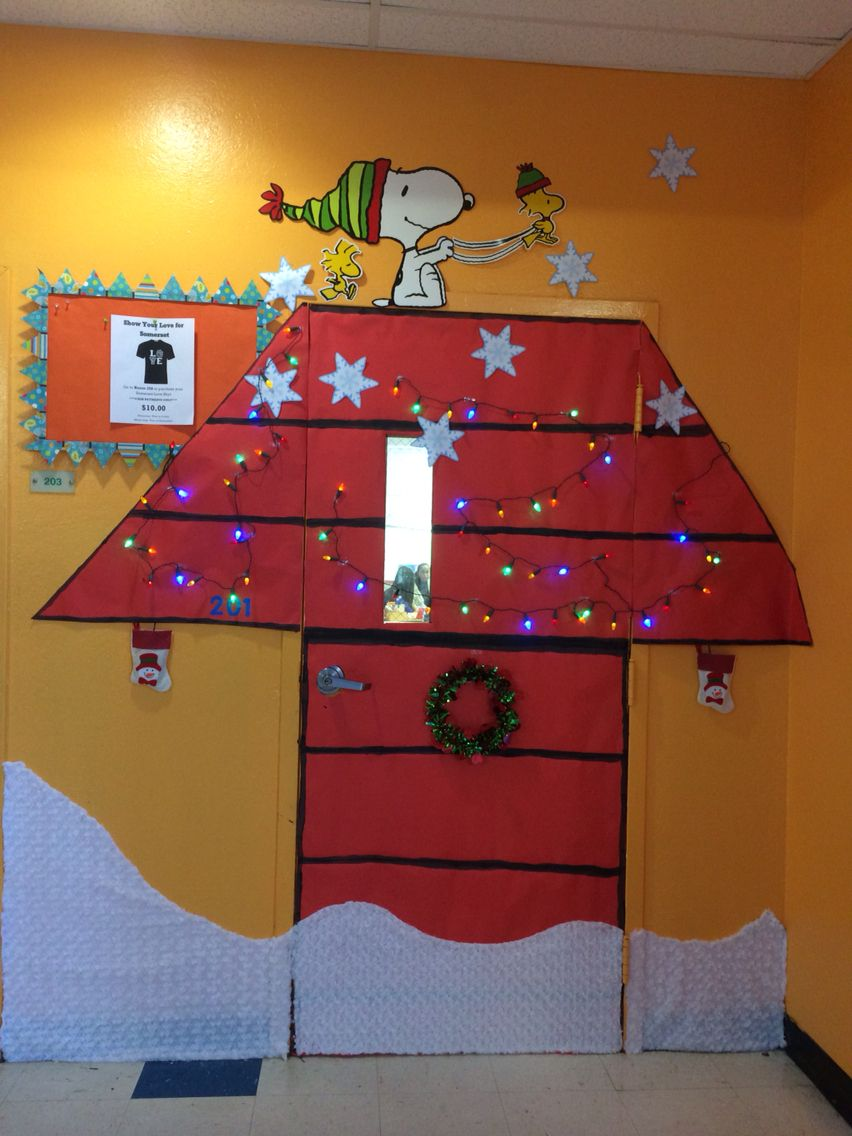 snoopy charlie brown winter christmas holiday classroom door - Snoopy Christmas Door Decorations