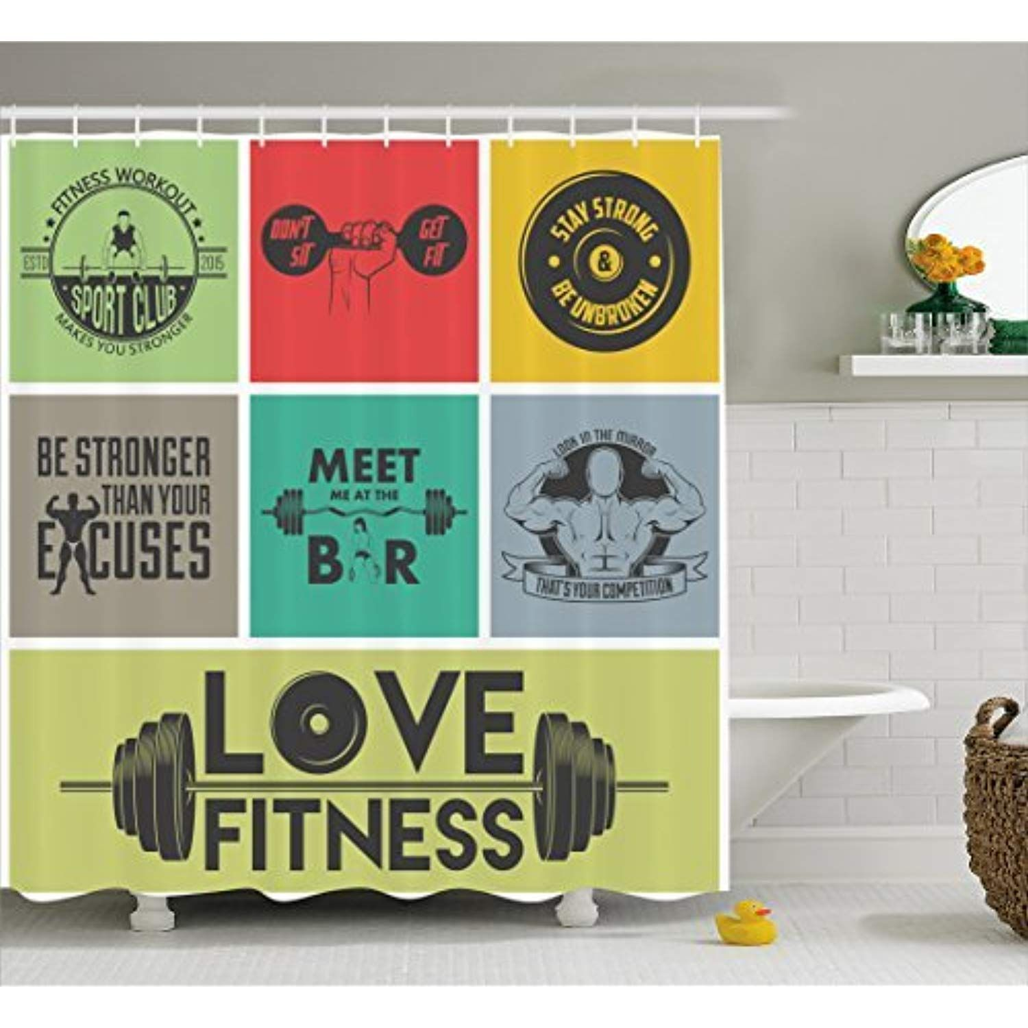 Ambesonne Fitness Shower Curtain Various Motivational Quotes In