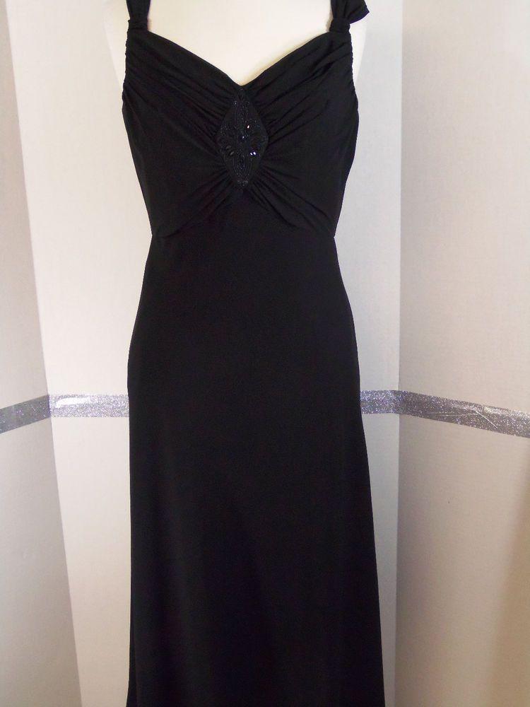 Evan Picone Black Dress Empire Waist Flowing Skirt Polyester Knee