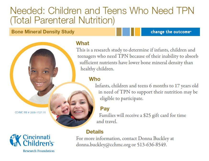 This Is A Cincinnati Children S Research Study To Determine If Infants Children And Teenagers Who Need Tot Teenage Health Research Studies Health And Wellness