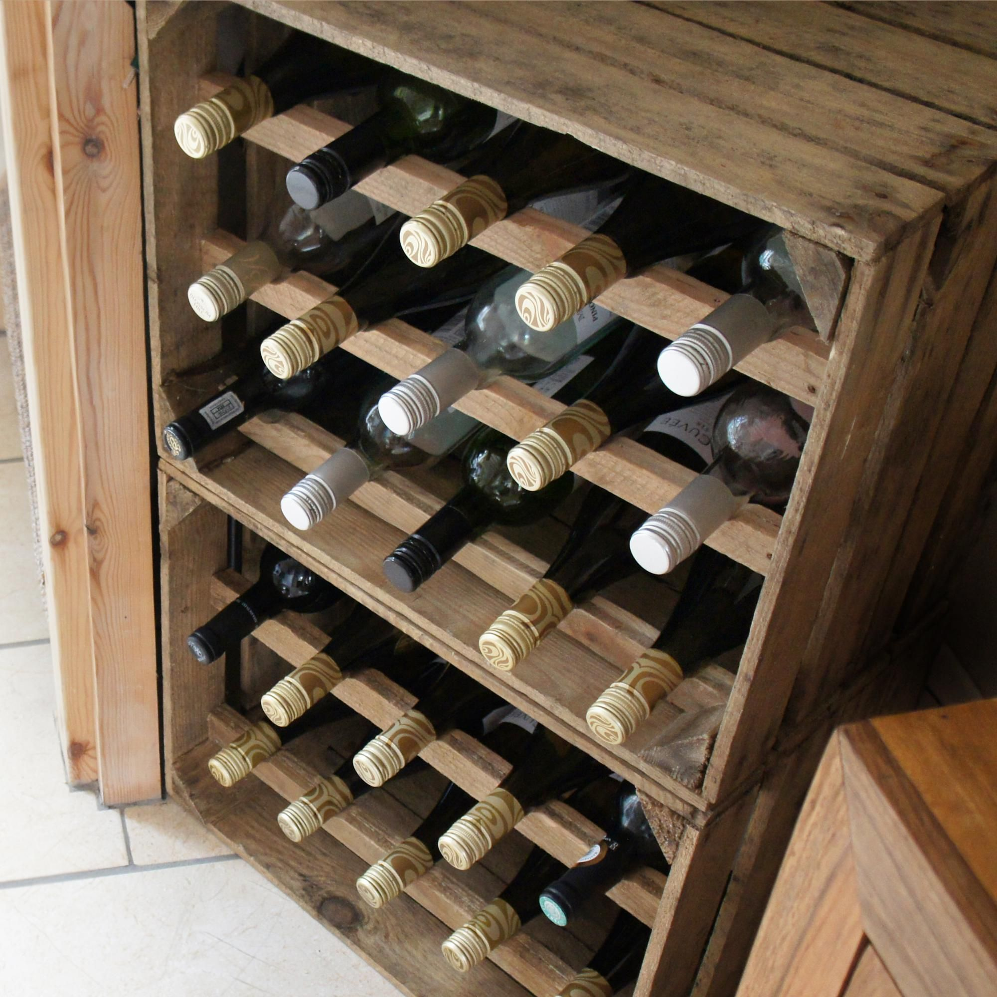 Apple Crate Wine Rack Natural Finish 10 and 15 Bottle