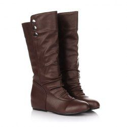 Causal PU Leather Women's Knight Boots With Rivets and Increase Design