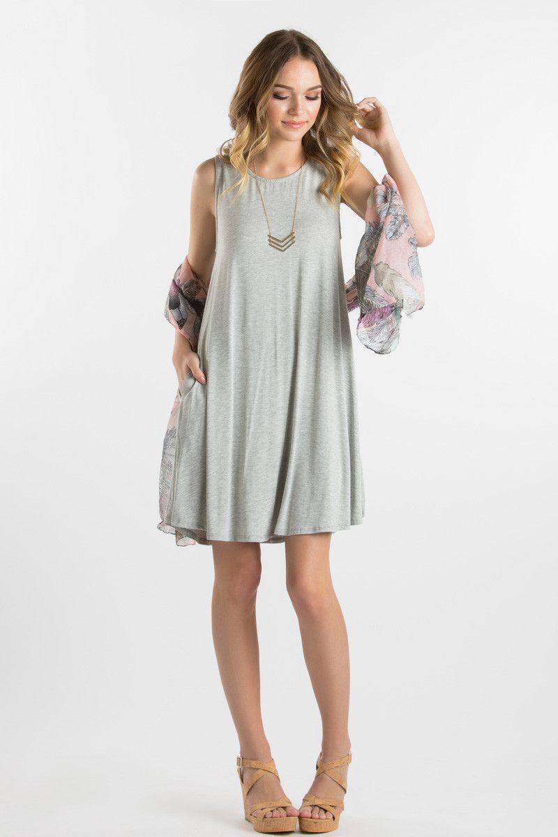 Heather Grey Sleeveless Dress, Casual Spring Dresses for Women ...