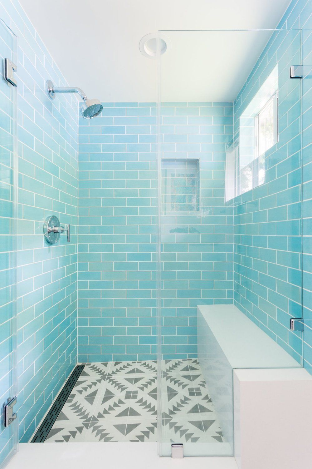 Bright Blue Shower Tile Small Bathroom Remodel Designs Bathroom Remodel Shower Bathrooms Remodel