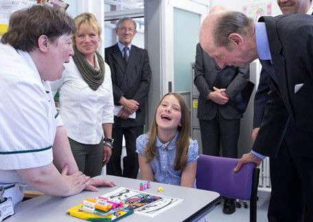 The Duke chats with 10-year-old Molly Page from Haddenham and from