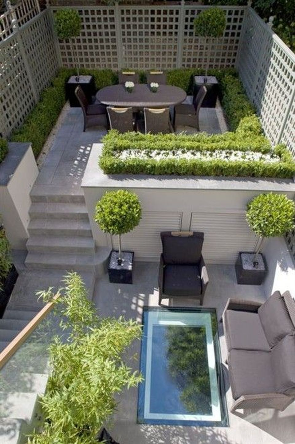 Small courtyard garden with seating area design and layout ... on Small Garden Sitting Area Ideas  id=78373