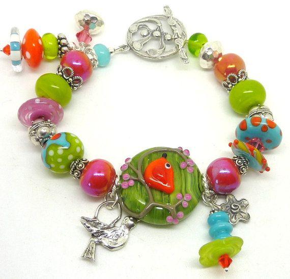 Lampwork Bracelet SPRING FEVER by adamarisdesigns on Etsy, 149usd