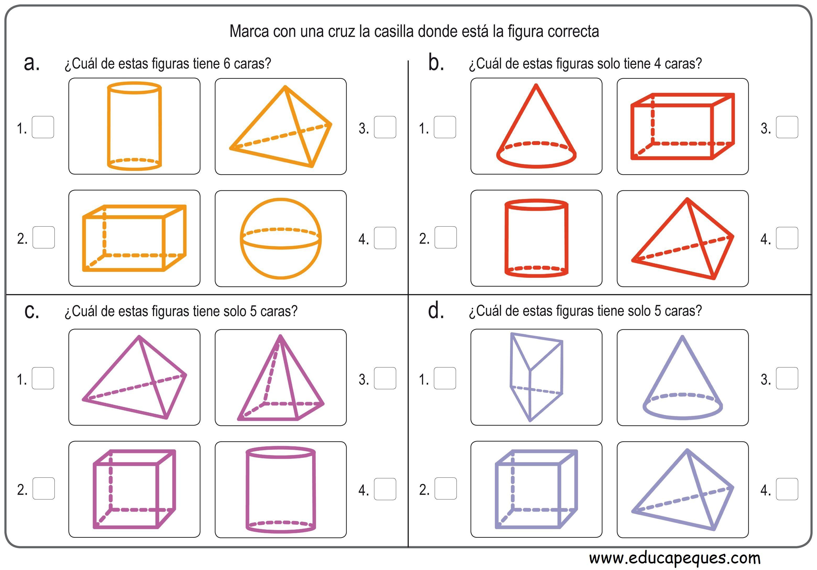 Ejercicios de figuras geométricas para primaria | Figuras ...