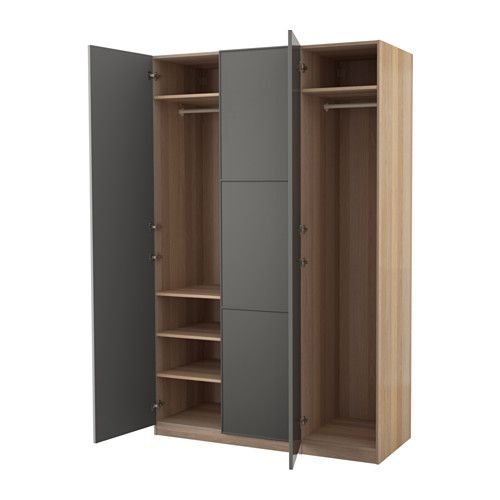 pax wardrobe white stained oak effect mer ker grey 150 x 60 x 236 cm 2016 office move. Black Bedroom Furniture Sets. Home Design Ideas