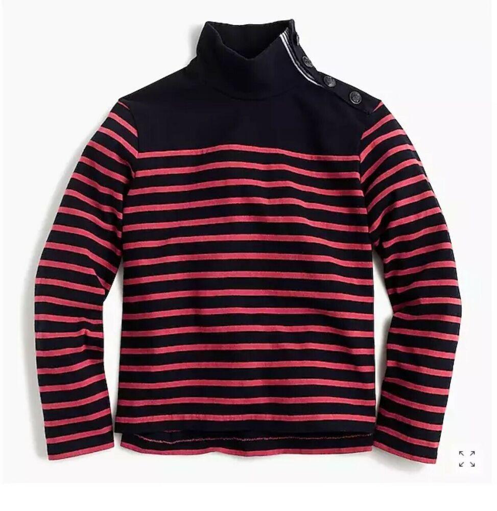 Crew Women/'s G8328 Striped Button Shoulder Turtleneck Sweater Shirt New J