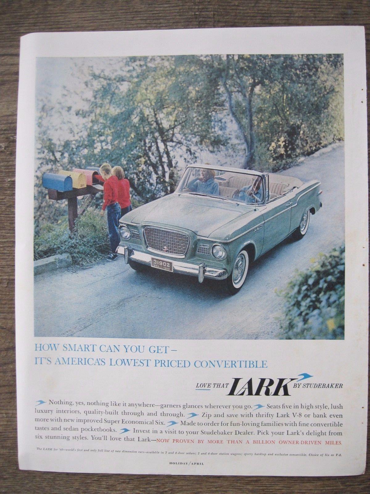 Automobile Advertisement 1960 Studebaker Lark Ebay Studebaker Classic Cars Usa Classic Cars