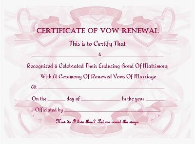 Vow renewal certificate ribbons and hearts offered in 4 for Wedding anniversary certificate template