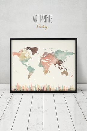 Travel map with cities wall art poster world map watercolor print travel map with cities wall art poster world map by artprintsvicky gumiabroncs Image collections
