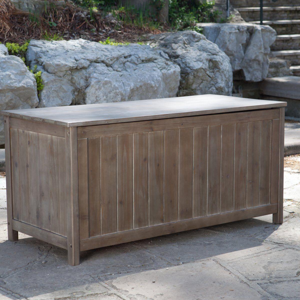 Gardeners Choice Deck Storage Box   Antique Grey   Outdoor Benches At  Hayneedle