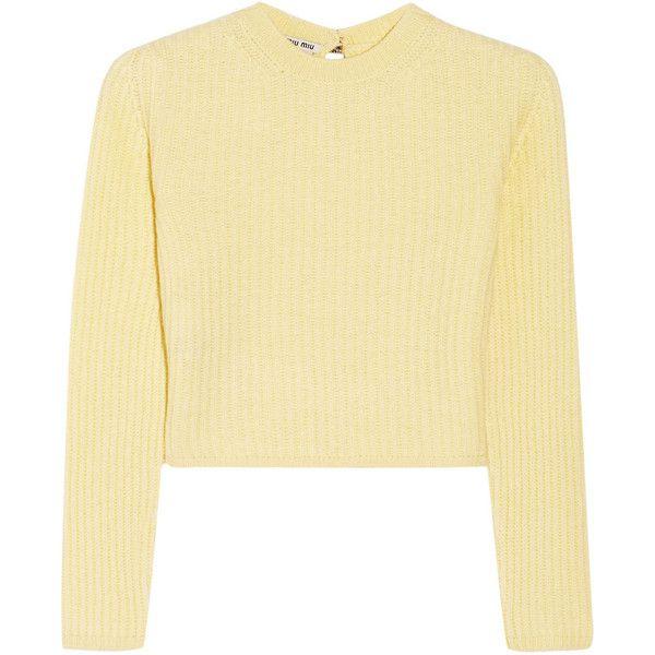 Miu Miu Cropped ribbed cashmere sweater, Pastel Yellow, Women's ...