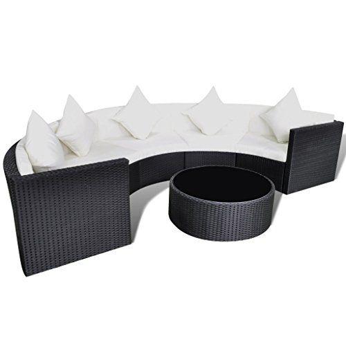 Anself Black Halfround Outdoor Rattan Sofa Furniture Set Want