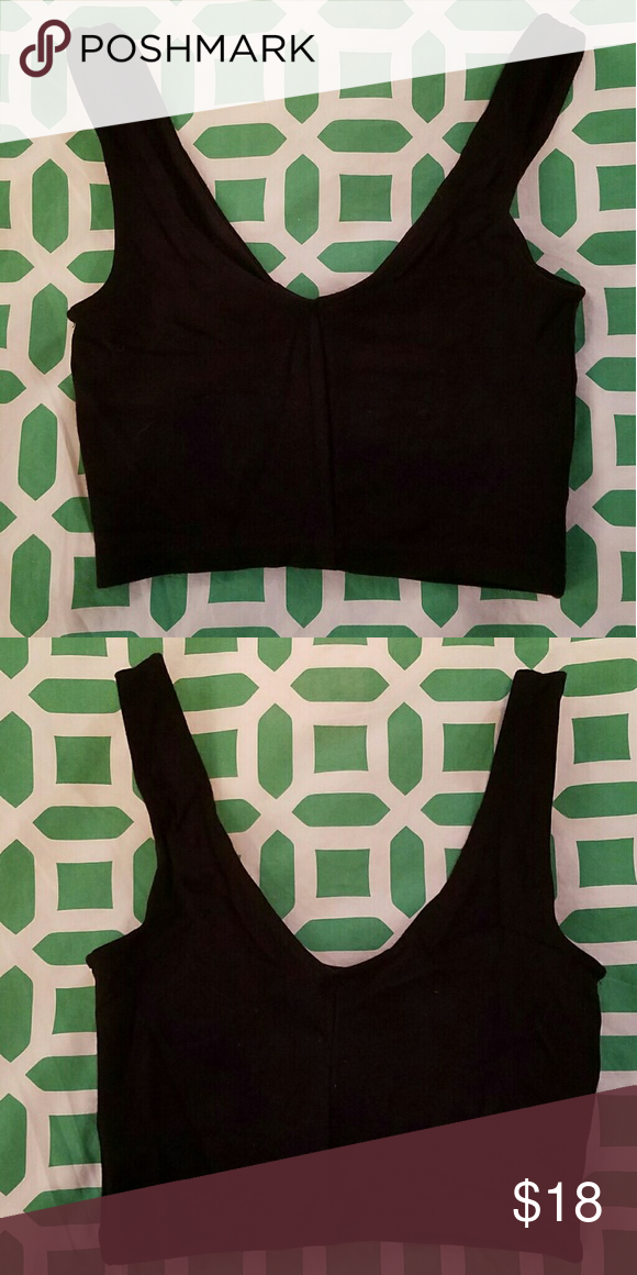 Topshop black crop tank top Worn only once. Excellent condition. Size US 4; UK 8 Offers welcome! Topshop Tops Crop Tops