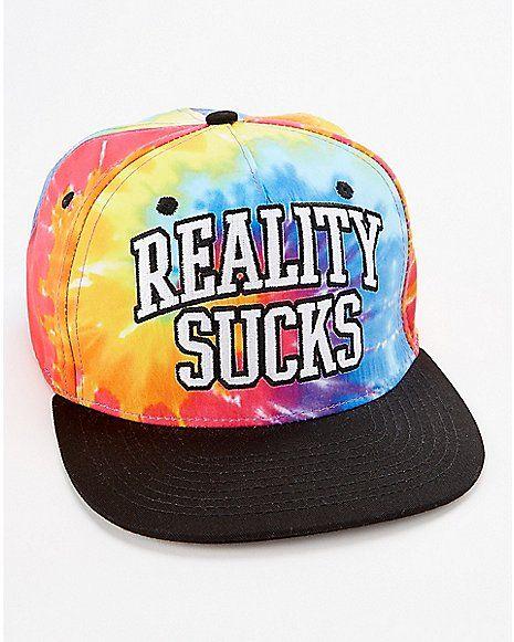 Reality Sucks Tie Dye Snapback Hat - Spencer s  0ae9a9b37088