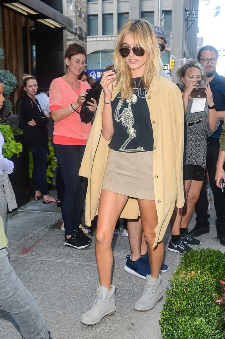 When-She-Styled-Her-Graphic-Tee-Miniskirt-Boots-Duster-Jacket
