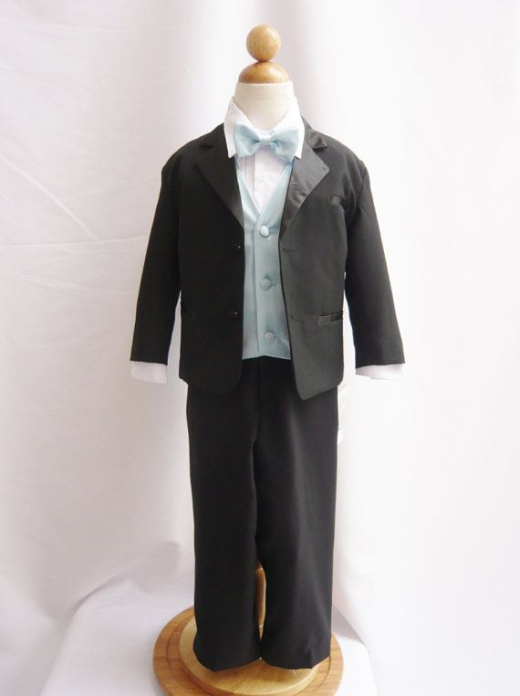 Boys Toddler Size Teen Ring Bearer Recital Black Tuxedo Suit Small to 18