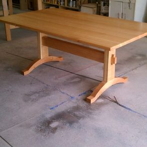 cherry trestle table by