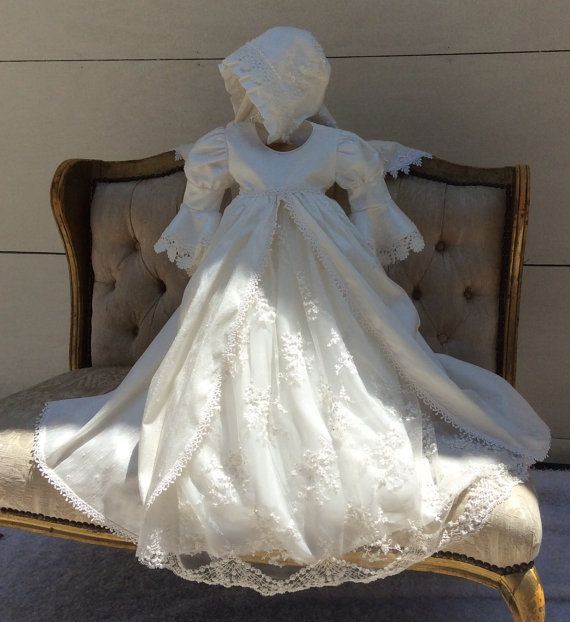 Christening silk gown and bonnet//Heirloom by ElenaCollectionUSA
