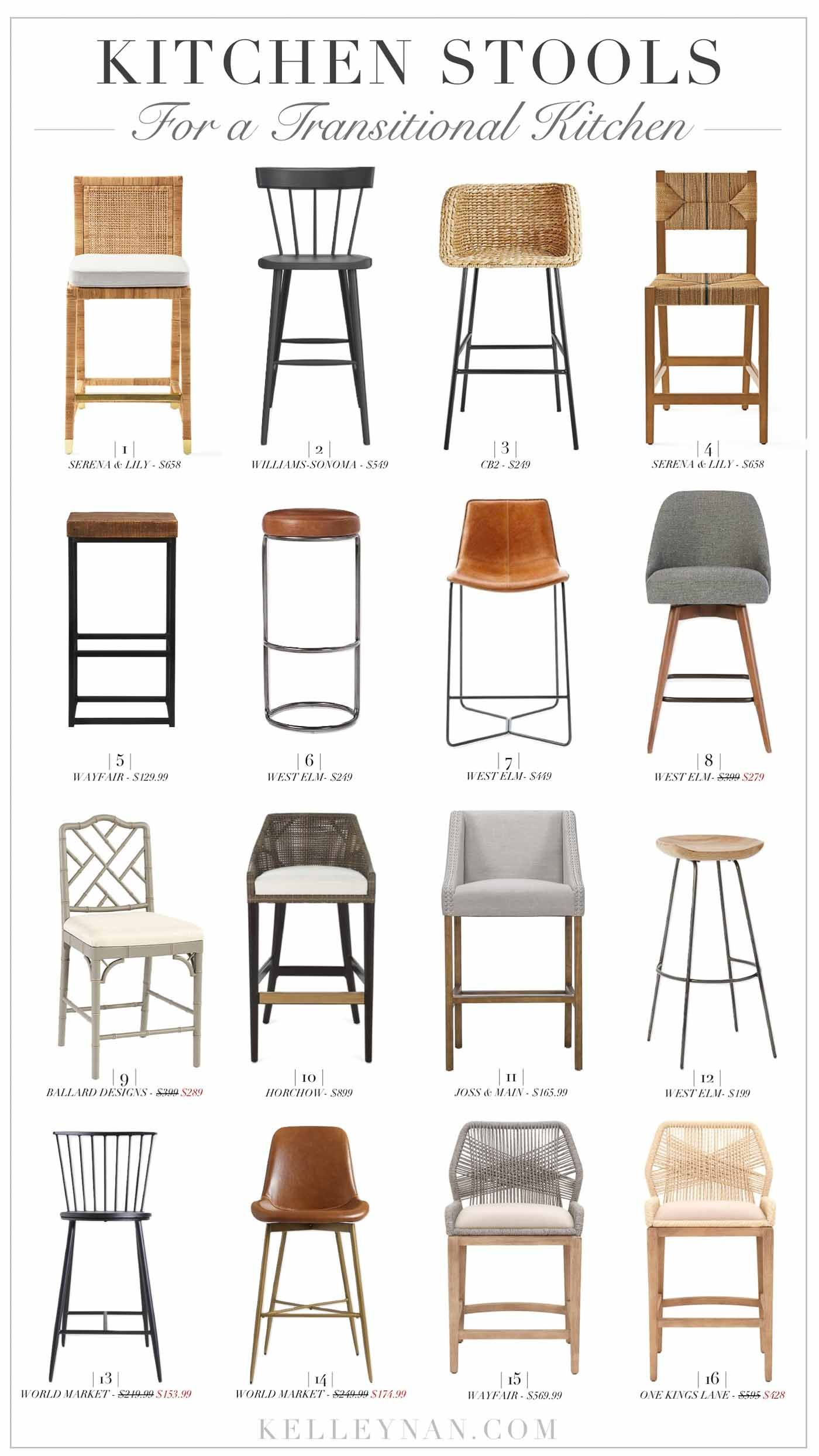 Transitional Bar Stools And Counter Height Kitchen Stools Of All