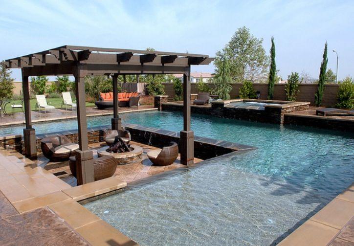 Like the sunken patio in pool area dream backyard for Pool area ideas