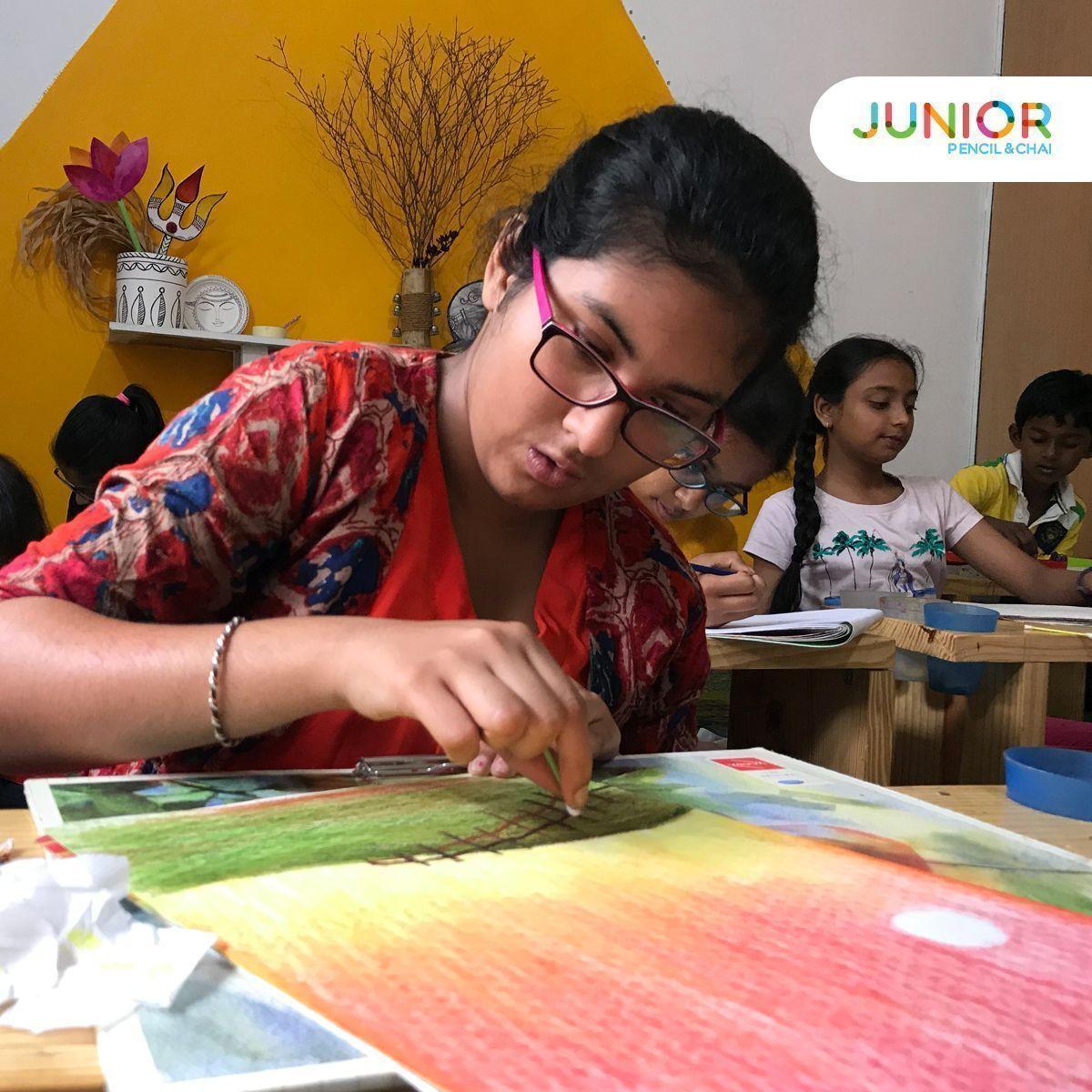 Shreyanka Engrossed In Her Artwork At Junior Pencil Chai Sow
