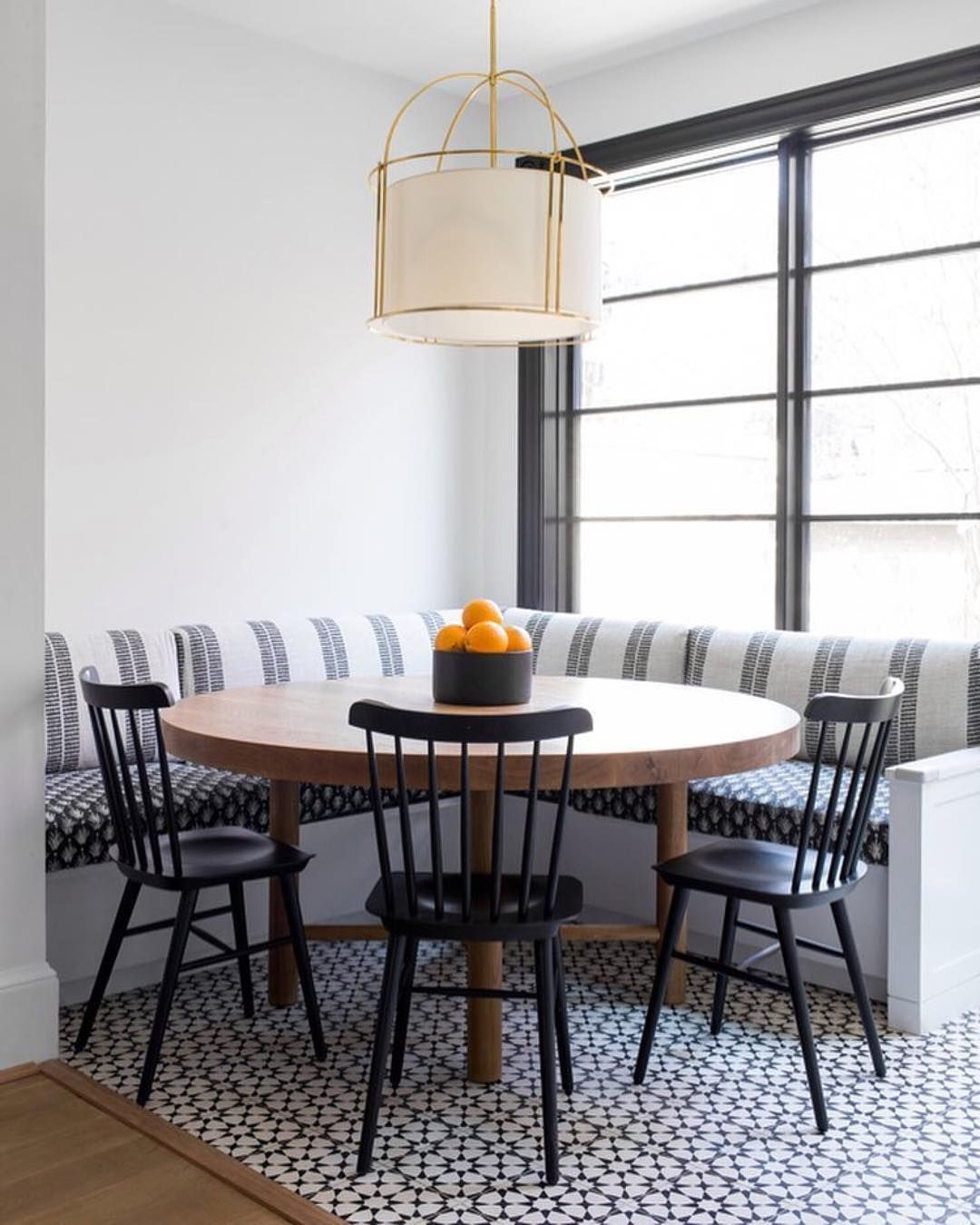Beautiful Breakfast Nook With Black Tucker Chairs