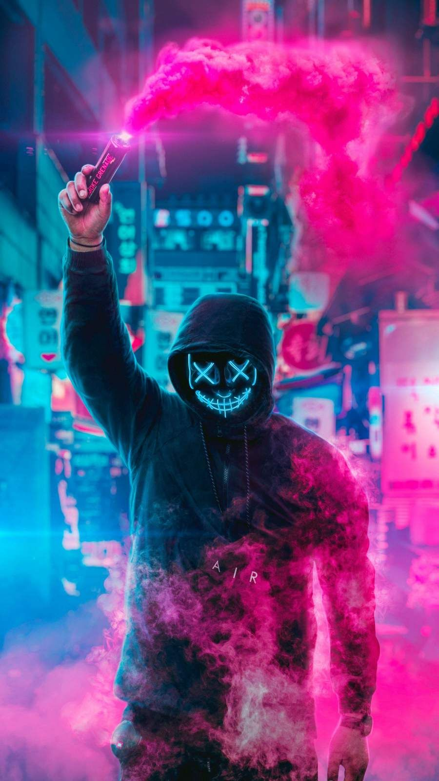 Smoke Grenade Neon Mask Guy Iphone Wallpaper Ilustrasi Poster