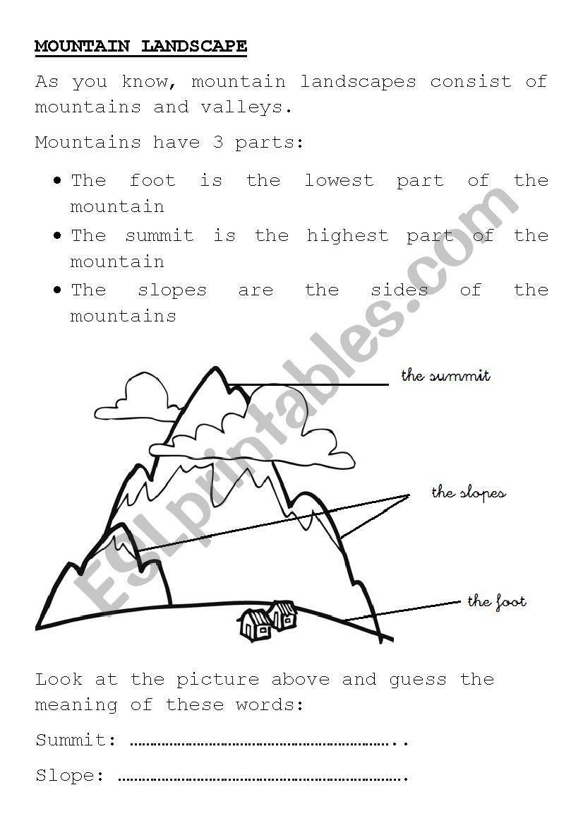 MOUNTAIN LANDSCAPE - ESL worksheet by yovily23 | English ...