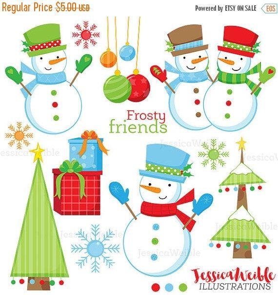 Frosty Friends Cute Digital Clipart Christmas Clip Art Etsy Christmas Clipart Christmas Graphics Snowman Images