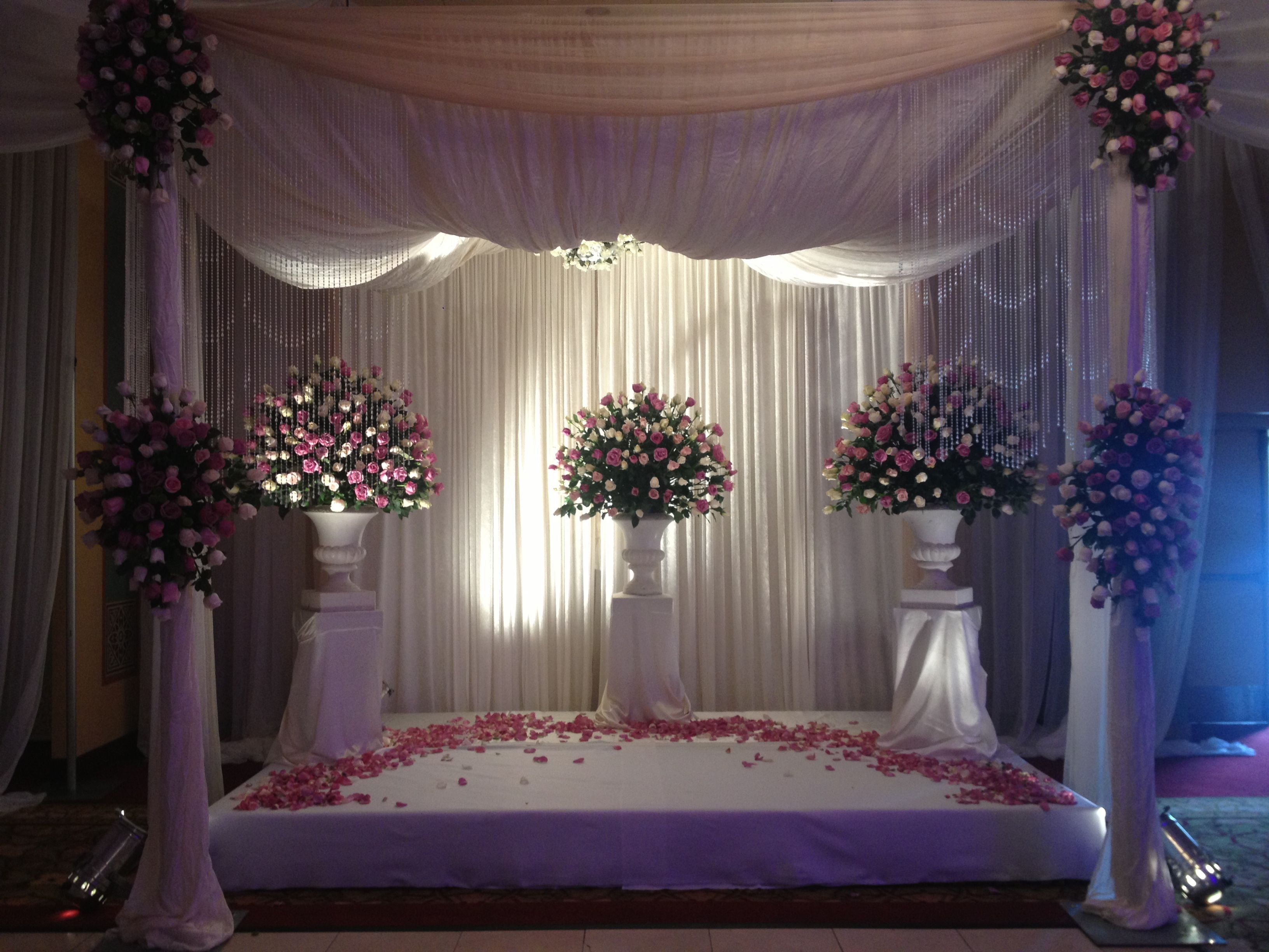 Wedding stage decoration without flowers Wedding ceremony stage  Flowers by Renee  Dearborn MI  Pinterest