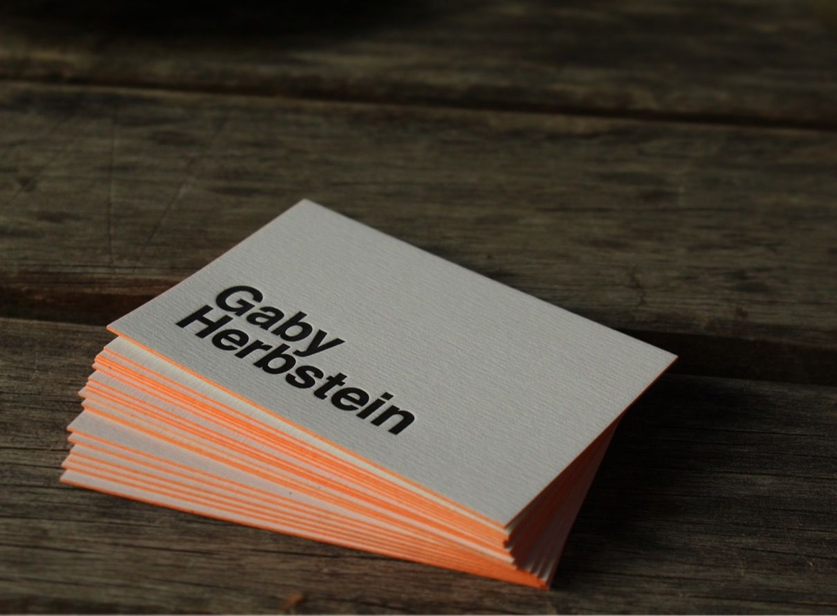 Letterpress - business cards - colored edge / https://www.facebook ...