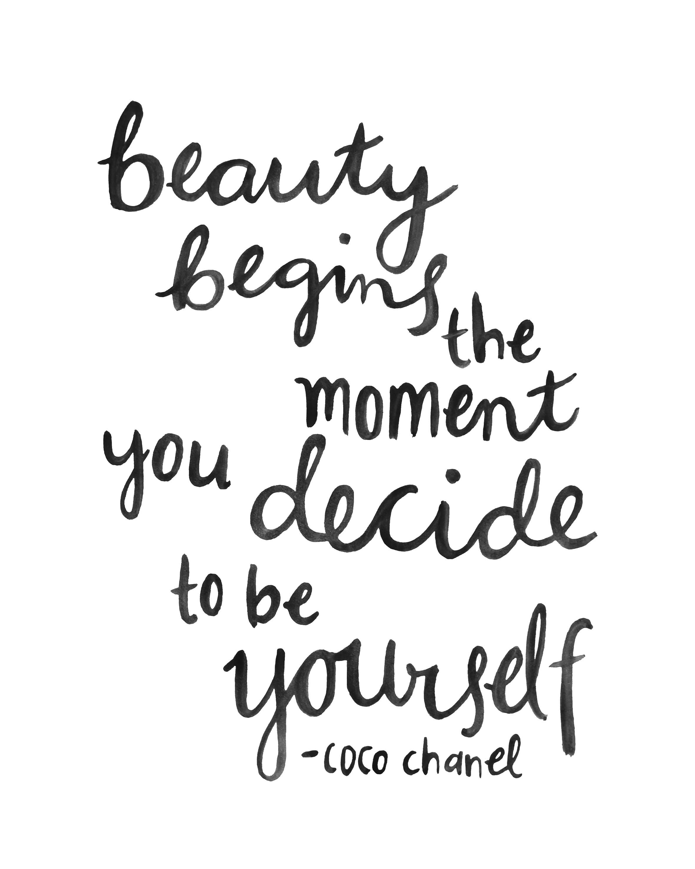 Hand Lettering Quote Coco Chanel Beauty Brush Scripthand Black White Little Fierce Cute Inspirational Sail