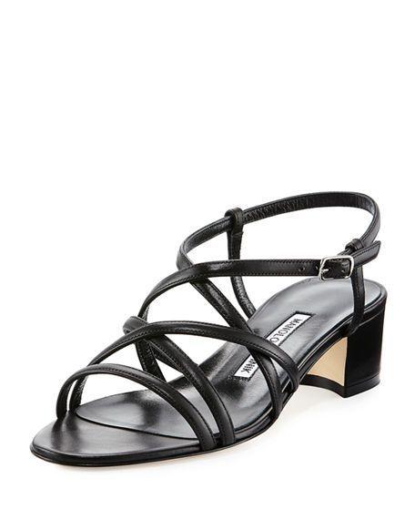 5fcd2cdcae5b49 MANOLO BLAHNIK Atrita Leather Block-Heel Sandal.  manoloblahnik  shoes   sandals