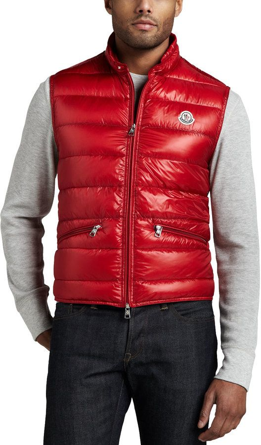 4161b5b27 Moncler Gui Puffer Vest, Red   Red hot   Puffer vest, Red puffer ...