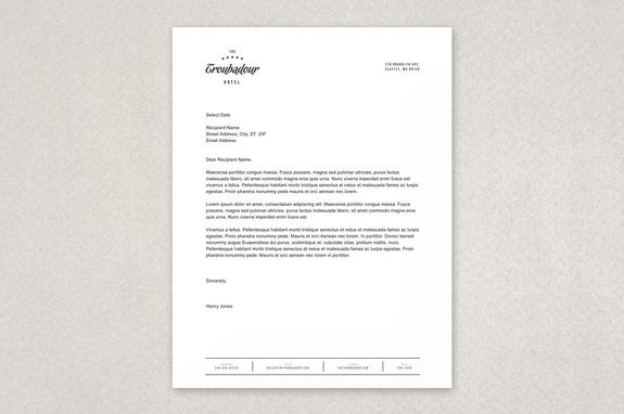 Dynamic Hotel Letterhead Template  This Design Offers A Clean