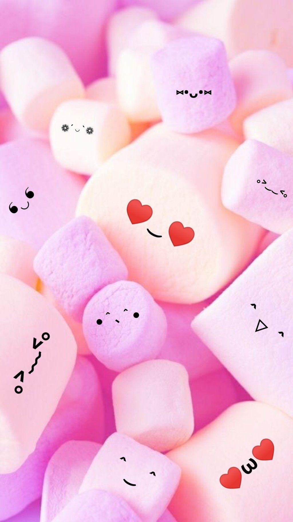 Marshmello Lucu Iphone Wallpaper Girly Cute Wallpapers Cute Food Wallpaper