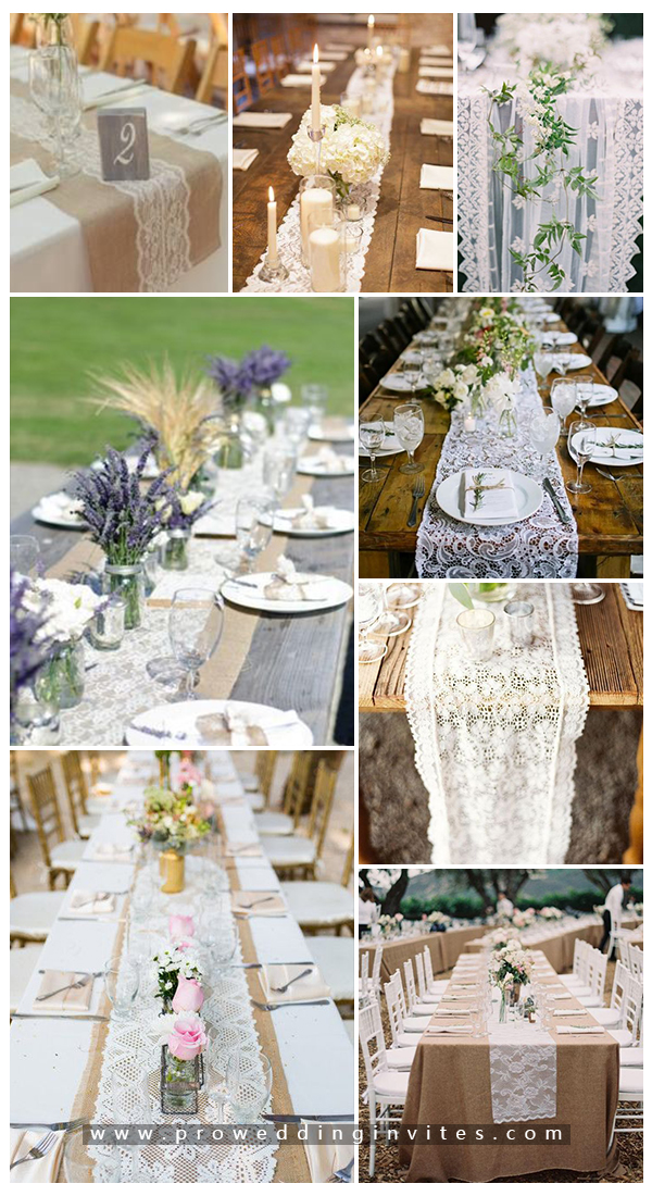 50 Wonderful Ideas To Incorporate Lace Into Your Vintage Weddings Lace Table Runner Wedding Table Runners Wedding Vintage Wedding Invitations