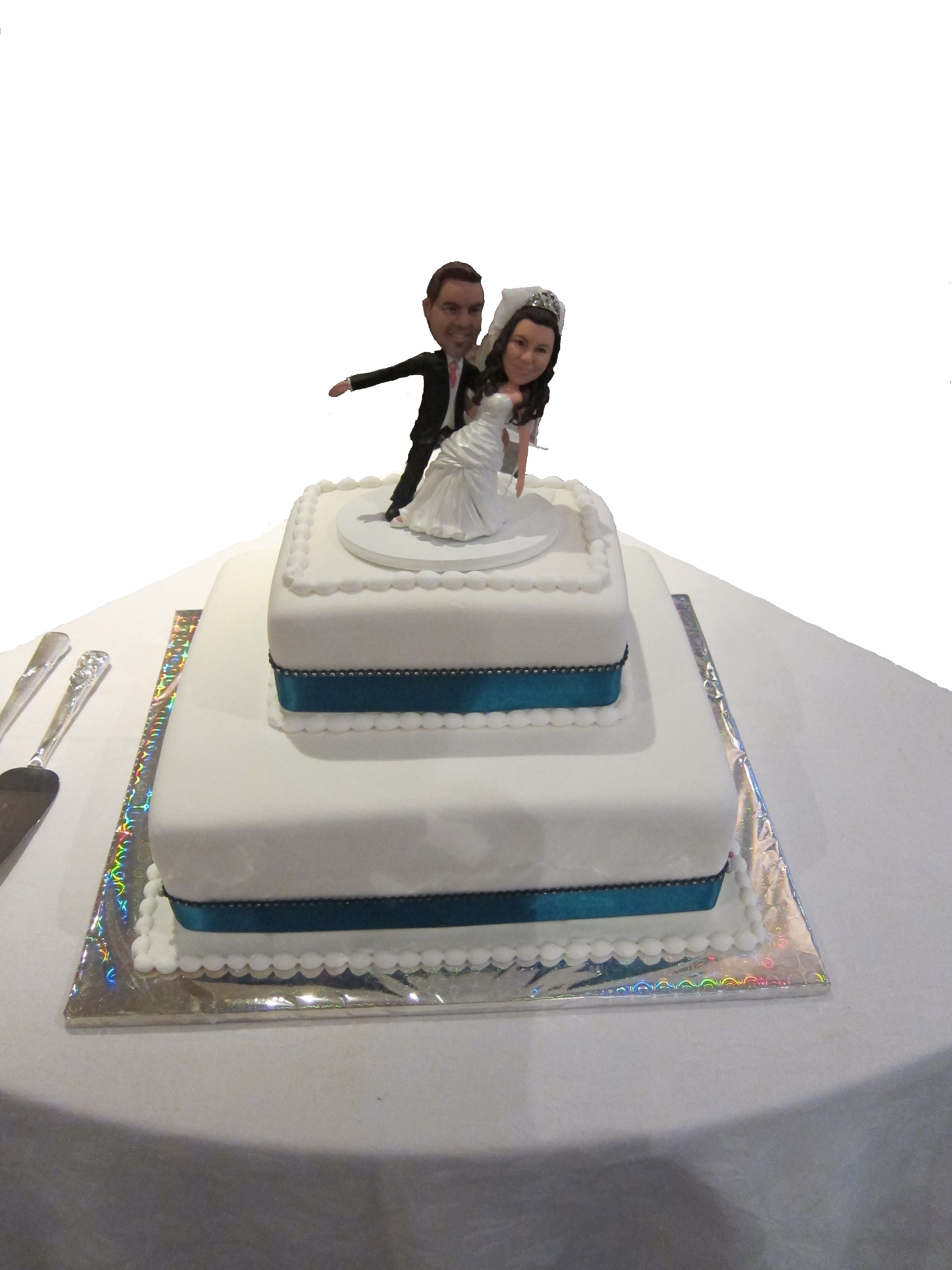 2 Tier White Wedding Cake with Blue Ribbon Lining | Wedding Cakes At ...