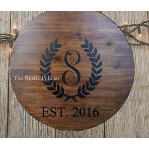 Wine Barrel, Personalized Monogram, Lazy Susan, Wood Wine Barrel, HAND PAINTED, Wood Wall Plaque reclaimed wood rustic decor,Bar,Wine Cellar