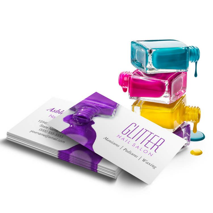 Stylish Hot Purple Glitter Nail Salon Manicure Business Card ...