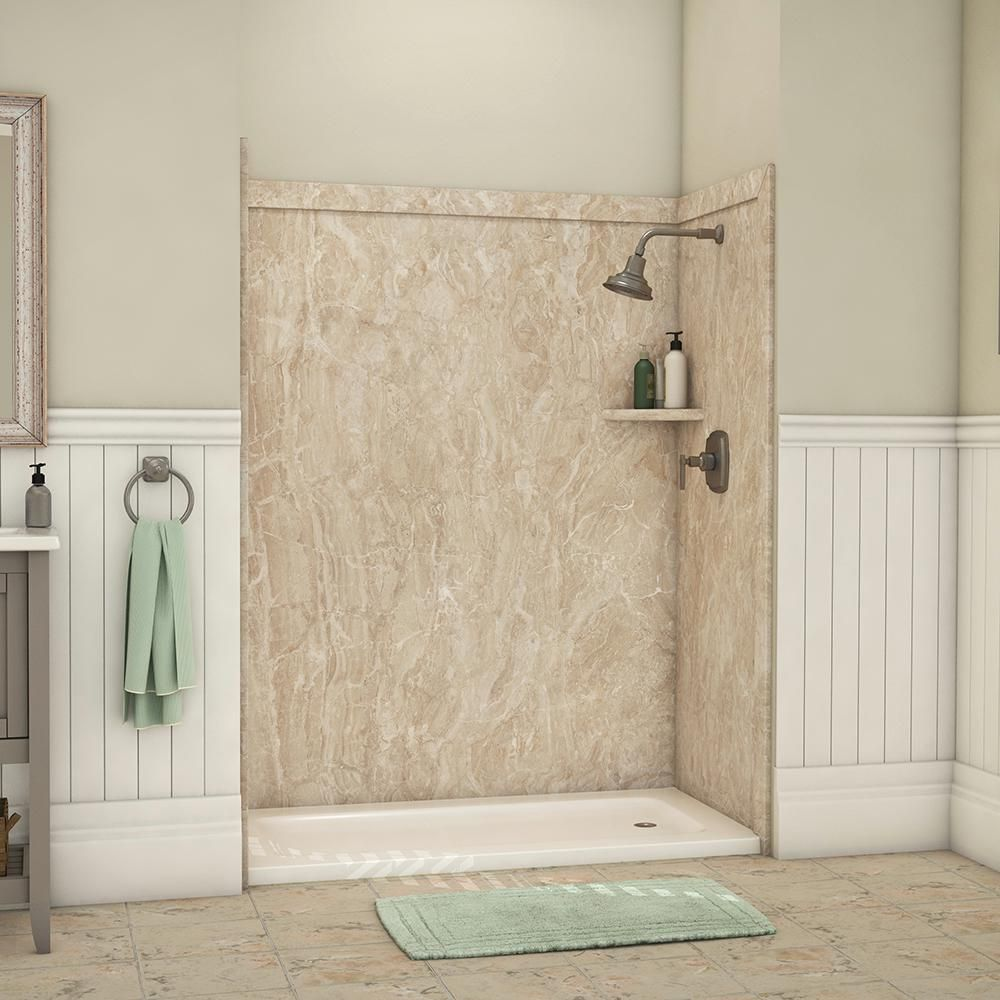 Flexstone Royale 36 In X 60 In X 80 In 11 Piece Easy Up Adhesive Alcove Bathtub Shower Wall Surround In Alaskan Ivory Ssk60367831ai Shower Wall Shower Wall Kits Bathtub Shower