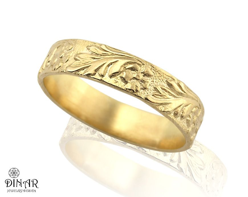 18k Gold flower Wedding Band ring handmade engraved wedding ring