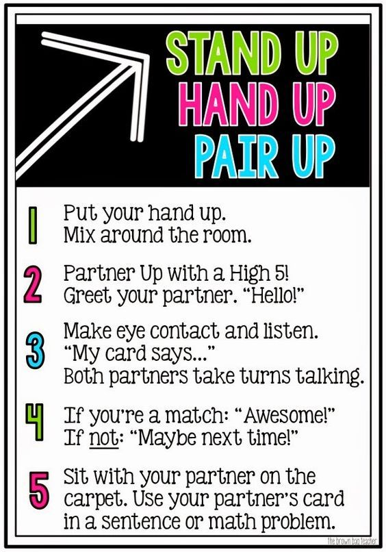 Collaborative Structures In The Classroom : Stand up hand pair students classroom